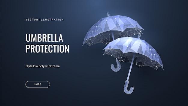 未来的な背景にワイヤーフレームの多角形スタイルの2つの幾何学的な傘 Premiumベクター