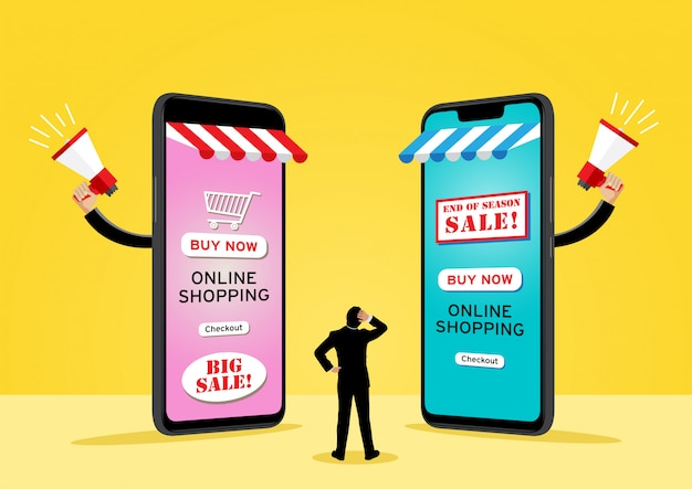 Two giant cell phones selling goods Premium Vector