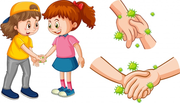 Two girl shaking hands with coronavirus cells Free Vector