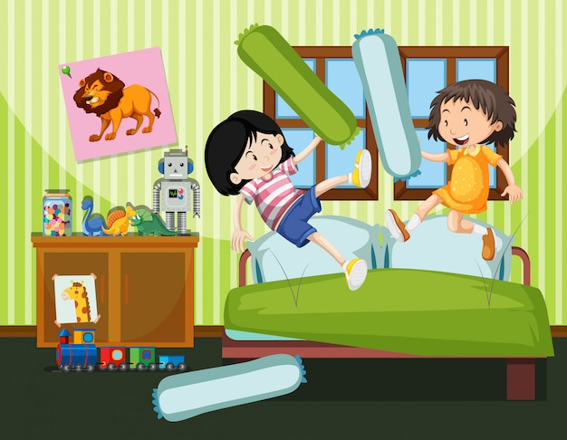 Two girls having a pillow fight Free Vector