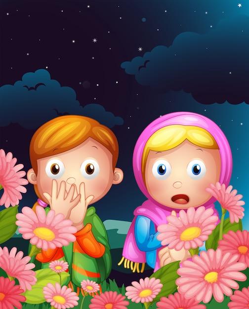 夜中に隠れている2人の女の子 無料ベクター