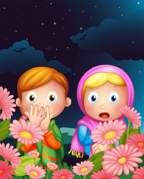 Two girls hiding in the middle of the night Free Vector