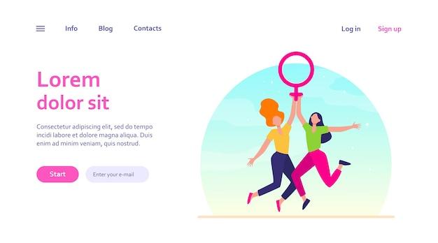 Две девушки держат женский символ. женщины с знаком венеры празднуют женский день. сила девушки, расширение прав и возможностей, концепция феминизма для дизайна веб-сайта или целевой веб-страницы Бесплатные векторы