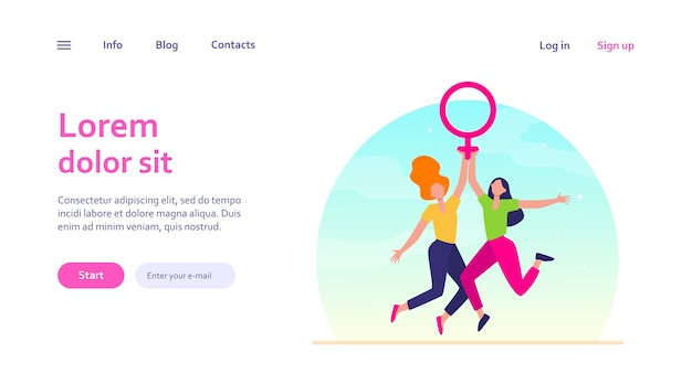 Two girls holding female symbol. women with venus sign celebrating woman day. girl power, empowerment, feminism concept for website design or landing web page Free Vector