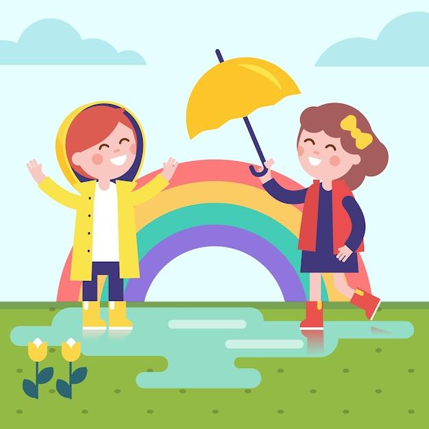 Две девушки играют в дождь и радугу Бесплатные векторы