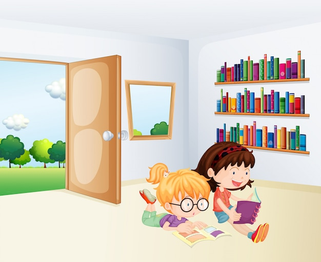 Two girls reading inside a room Free Vector