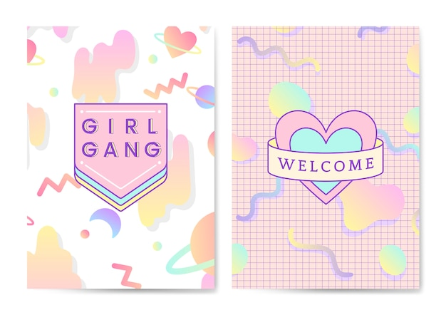 Two girly and cute poster vectors Free Vector