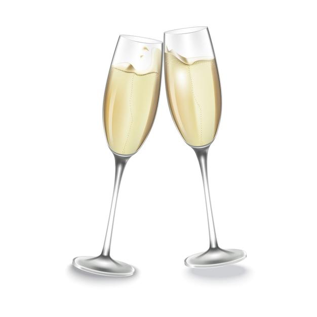 Two glasses of champagne. Premium Vector