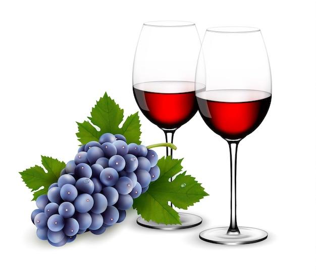 Два бокала красного вина с виноградом. Premium векторы
