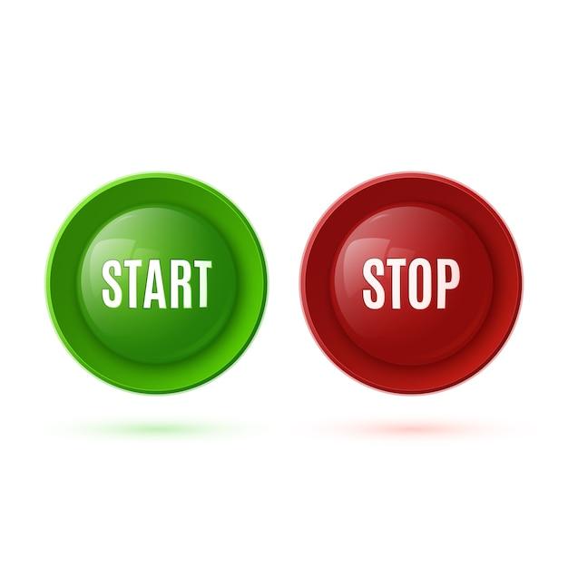 2つの光沢のあるボタン、開始と停止。図 Premiumベクター