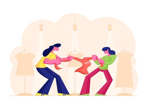 백화점에서 빨간 재킷을 위해 싸우는 두 욕심 많은 소녀. 만화 평면 그림 프리미엄 벡터