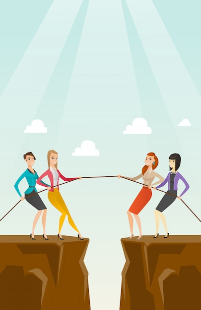 Two groups of business people pulling rope. Premium Vector