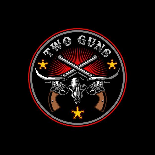 Two guns longhorn in circle logo design concept Premium Vector