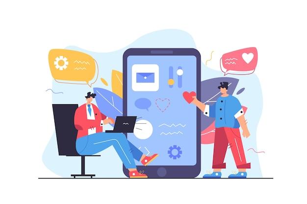 Два программиста настраивают пользовательский интерфейс на большом экране плоской иллюстрации мобильного телефона, изолированной на белом фоне Premium векторы