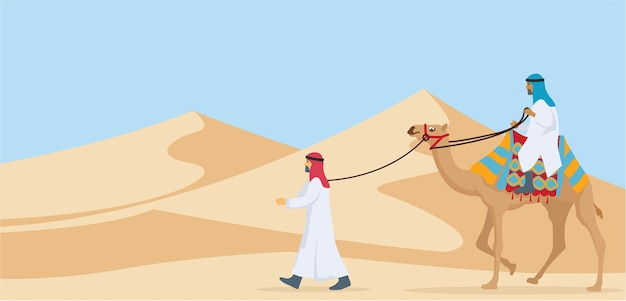 Two guy riding and walking their camel trough desert Premium Vector