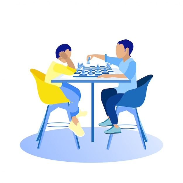 Two guys playing chess on white background. Premium Vector