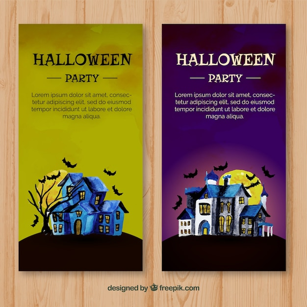 Two halloween flyers with night house in watercolour Free Vector