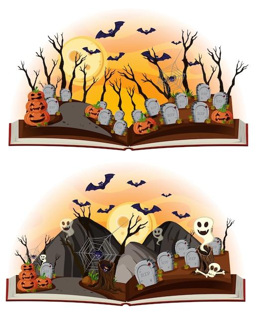 Two halloween scenes at graveyard Vector | Premium Download