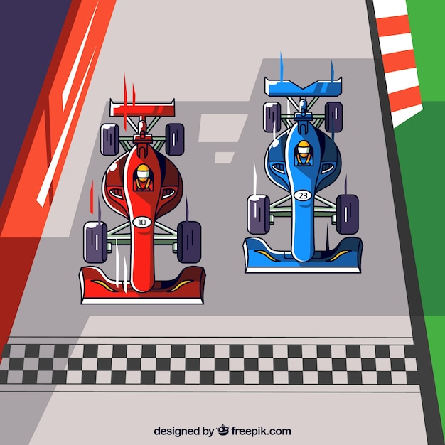 Two hand drawn f1 racing cars crossing finish line Free Vector