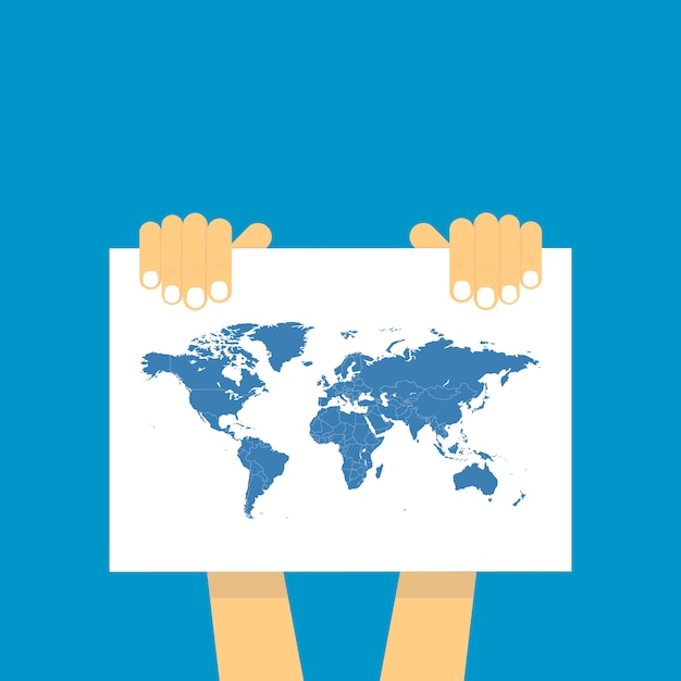 Two hand holds a table on which the blue map of the world is depicted. Premium Vector