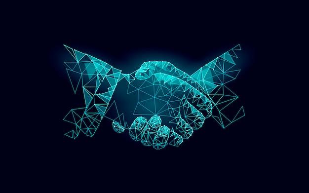 Две руки рукопожатие деловое соглашение. Premium векторы