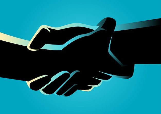 Two hands holding each other strongly Premium Vector