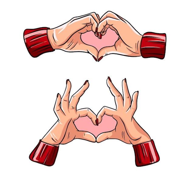 Two hands making heart sign. love, romantic relationship concept. Premium Vector