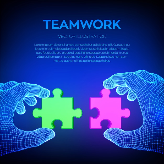Two hands trying to connect couple puzzle piece. Free Vector