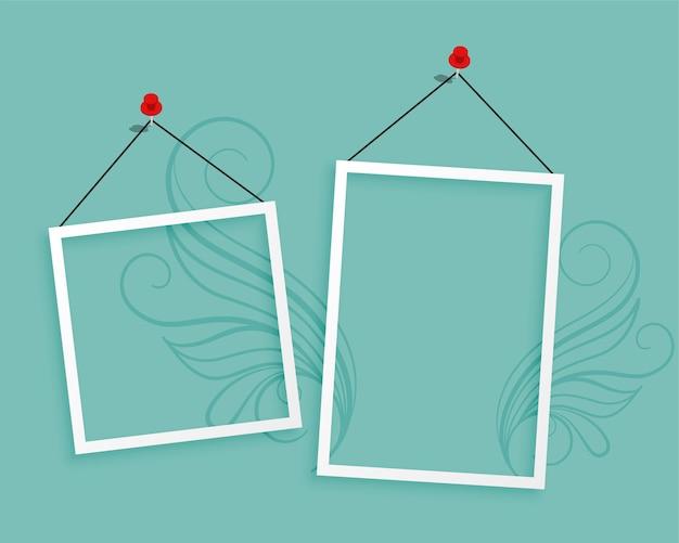 Due cornici per foto appese sfondo bianco design Vettore gratuito