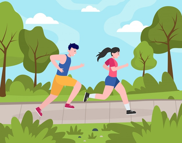 Two happy people jogging in park Free Vector