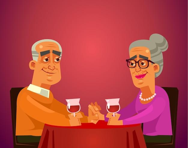 Две счастливые улыбающиеся старики пара персонажей бабушки и дедушки сидят за столом в ресторане Premium векторы