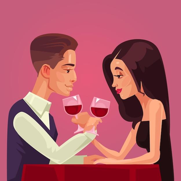 Два счастливых улыбающихся человека, мужчина и женщина, имеют характер влюбленных, встречаются на свидании и вместе пьют вино. Premium векторы
