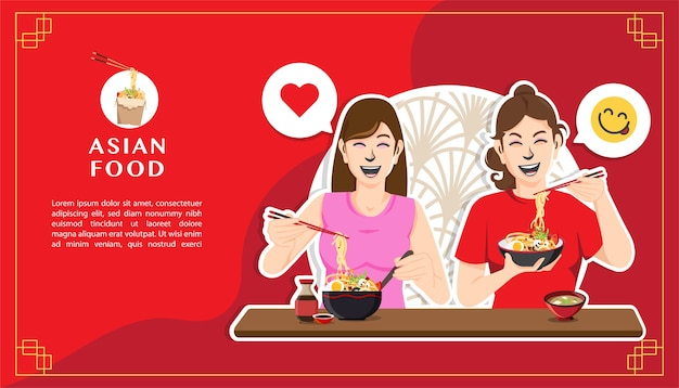 Two happy women eating noodles Premium Vector
