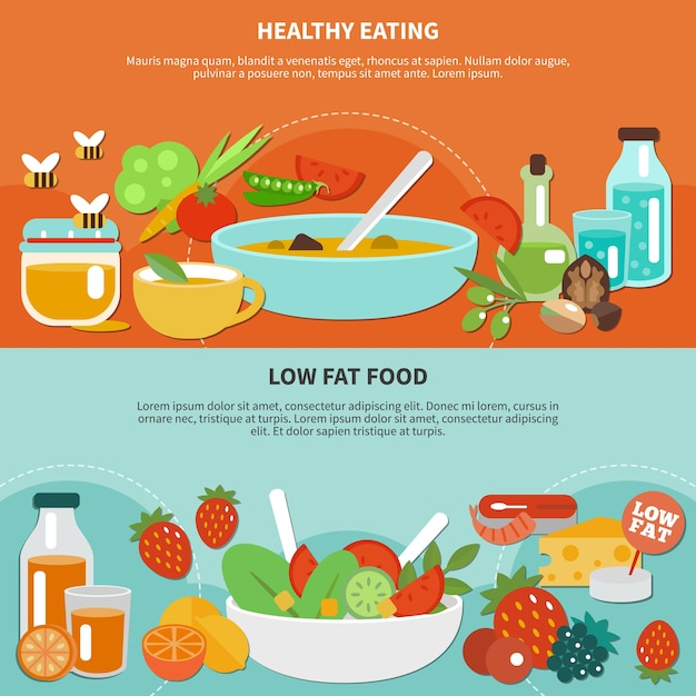 Two healthy eating flat banner set with drink and food made from vegetables and fruits illustration Free Vector