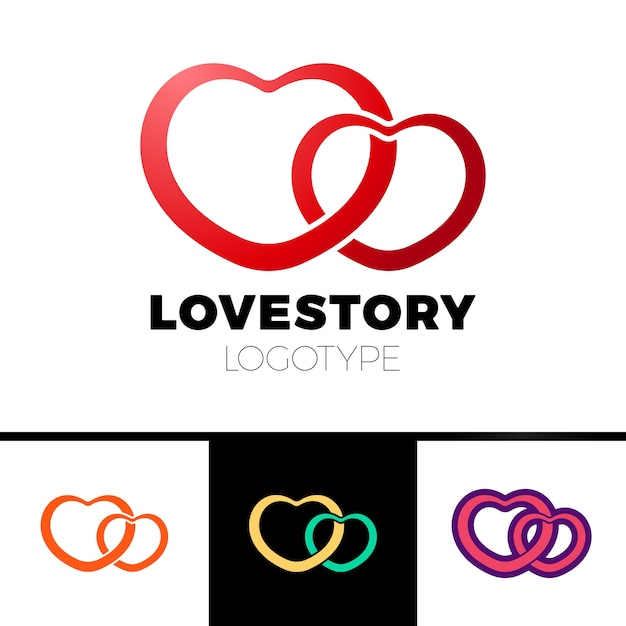 Two Hearts Logo Abstract Vector Symbol Of Love Logotype Vector