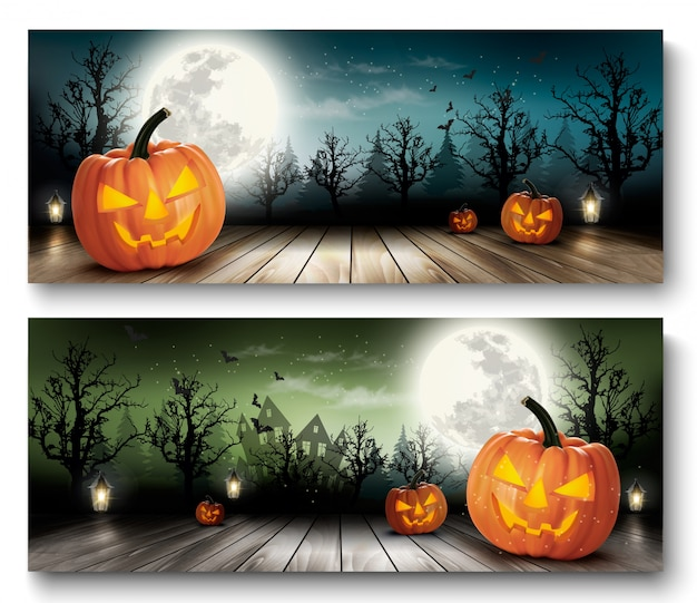 Two holiday halloween backgrounds with pumpkins and moon. vector Premium Vector
