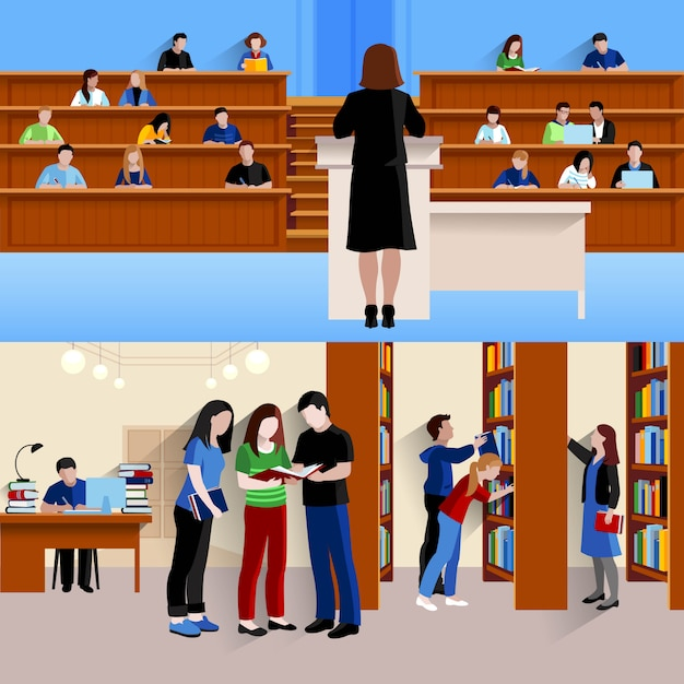 Two horizontal background with students at university listening lecturer and preparing for exams isolated vector illustration Free Vector