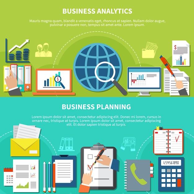 Due banner orizzontali di elementi aziendali con descrizioni analitiche e di pianificazione e con illustrazione di elementi piani Vettore gratuito
