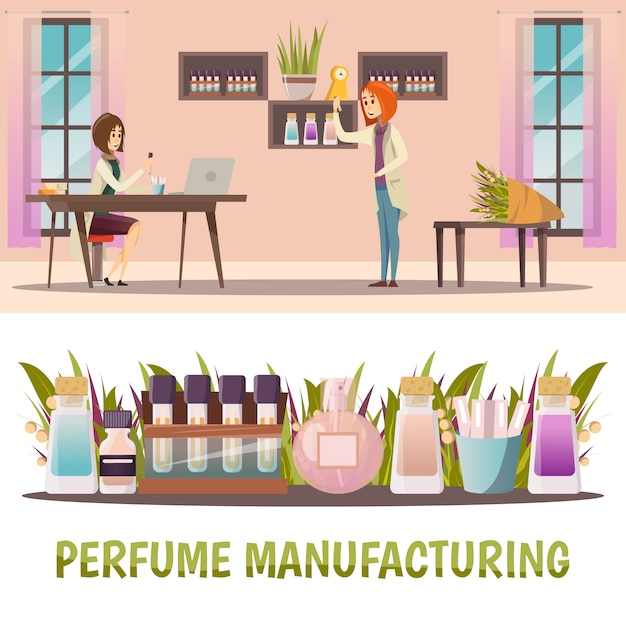 Two horizontal colored perfume shop banner set with perfume manufacturing and finished product Free Vector