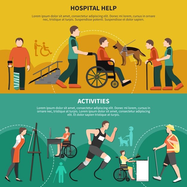Two horizontal disabled person banner set with hospital help Free Vector