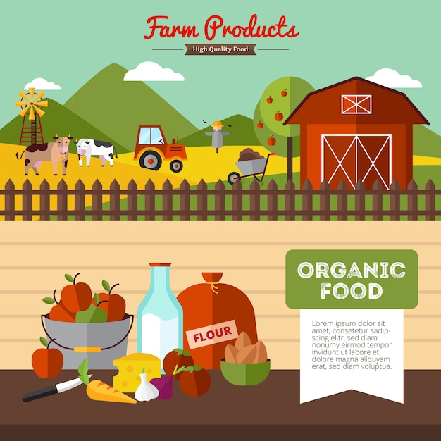 Two horizontal farm banners with organic food and farmyard in flat style vector illustration Free Vector