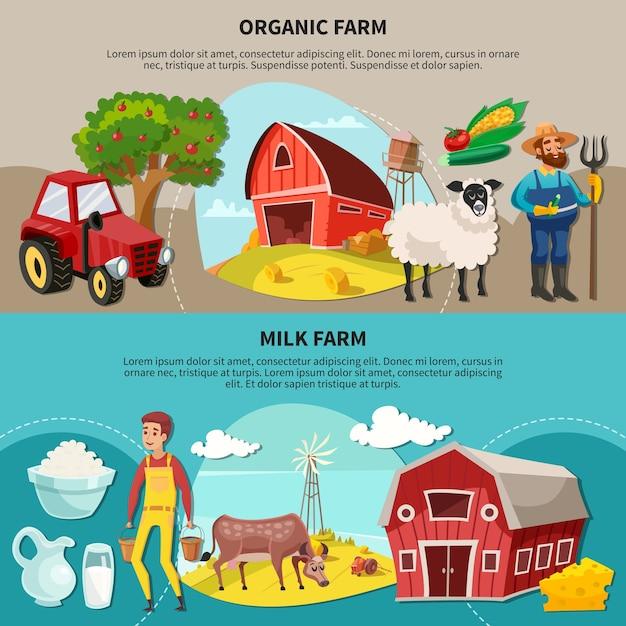 Composizione in due cartoni animati di fattoria orizzontale impostata con titoli di fattoria biologica e latte Vettore gratuito