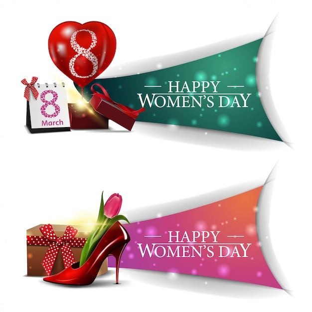 Two horizontal, modern, greeting women's day banners Premium Vector