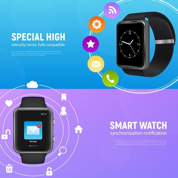 Два горизонтальных реалистичные умные часы баннер с особым высоким и умные часы описания векторных иллюстраций Бесплатные векторы