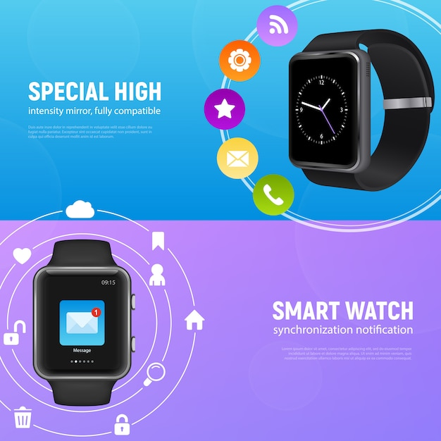 Two horizontal realistic smart watch banner set with special high and smart watch descriptions vector illustration Free Vector