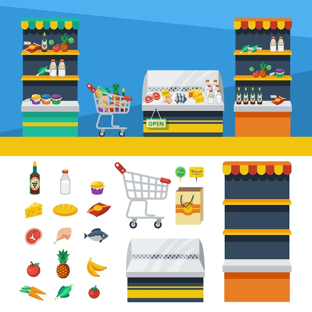 Two horizontal supermarket banners Free Vector