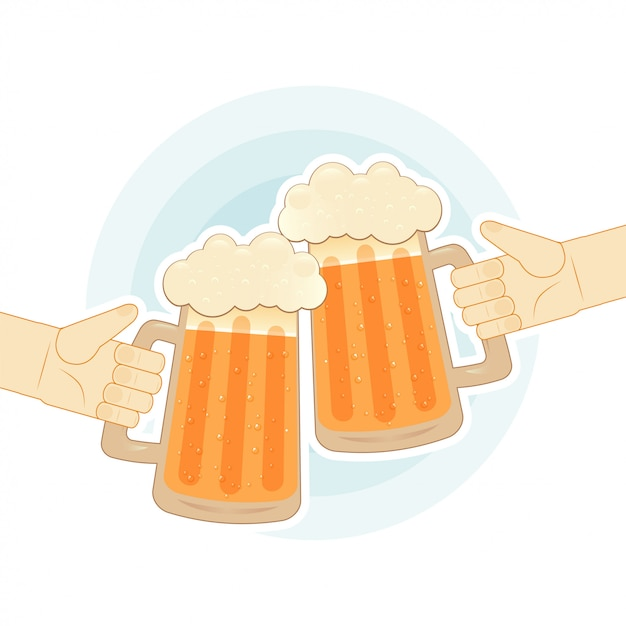 Two human hands toasting with beer mugs. flat illustration for bar Premium Vector