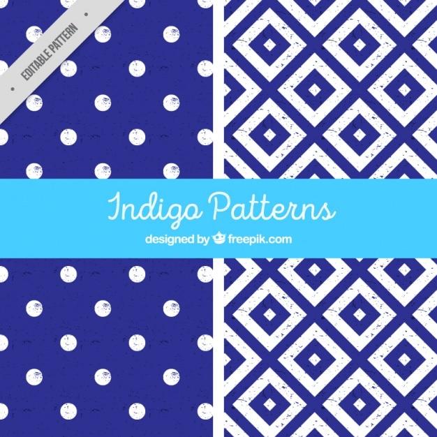 Two indigo patterns Free Vector