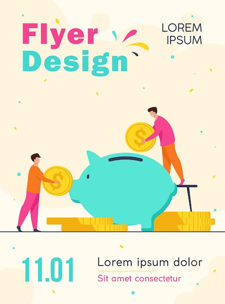 Two investors putting coins in piggybank flyer template Free Vector