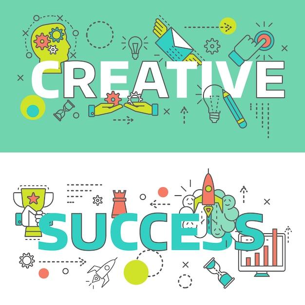 La linea creativa colorata isolata due ha messo sull'illustrazione di vettore di temi di successo e creativa Vettore gratuito